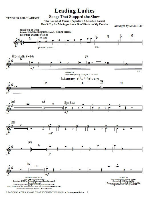 Leading Ladies: Songs That Stopped the Show - Tenor Sax/Clarinet Sheet Music