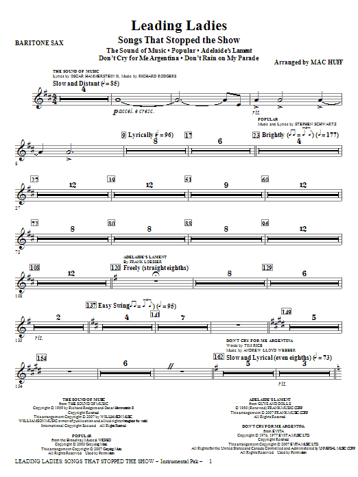 Leading Ladies: Songs That Stopped the Show - Baritone Sax Sheet Music