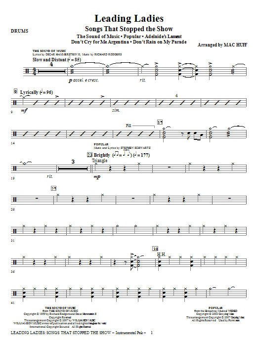 Leading Ladies: Songs That Stopped the Show - Drums Sheet Music