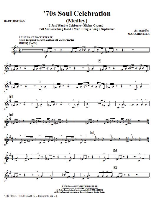 70s Soul Celebration (Medley) - Baritone Sax Sheet Music
