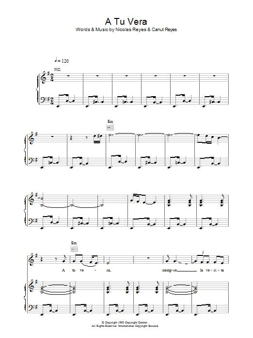 A Tu Vera (Piano, Vocal & Guitar)