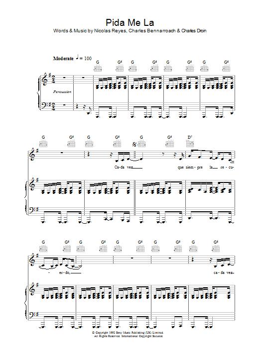 Pida Me La (Piano, Vocal & Guitar)
