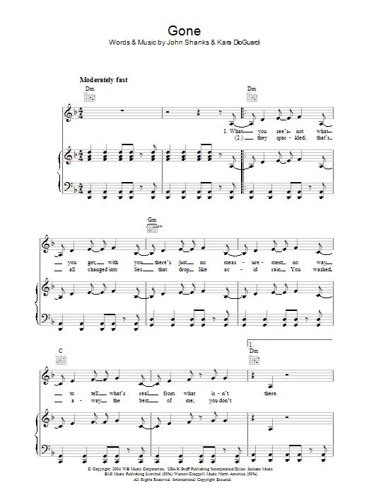 Gone (Piano, Vocal & Guitar)