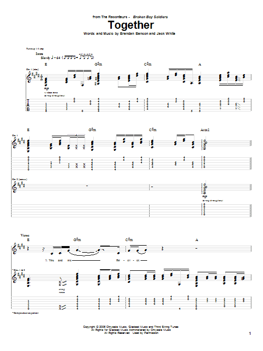 Tablature guitare Together de The Raconteurs - Tablature Guitare