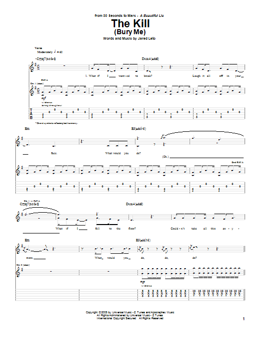 The Kill (Bury Me) Sheet Music