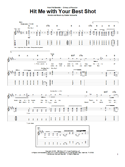 Tablature guitare Hit Me With Your Best Shot de Pat Benatar - Tablature Guitare