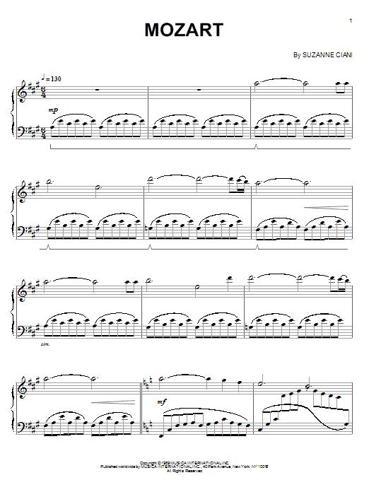 Partition piano Mozart de Suzanne Ciani - Piano Solo