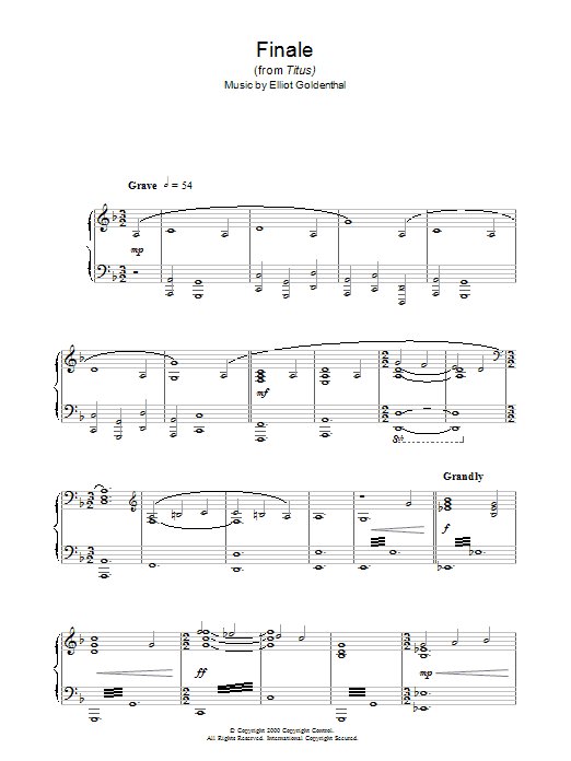Finale (from Titus) (Piano Solo)