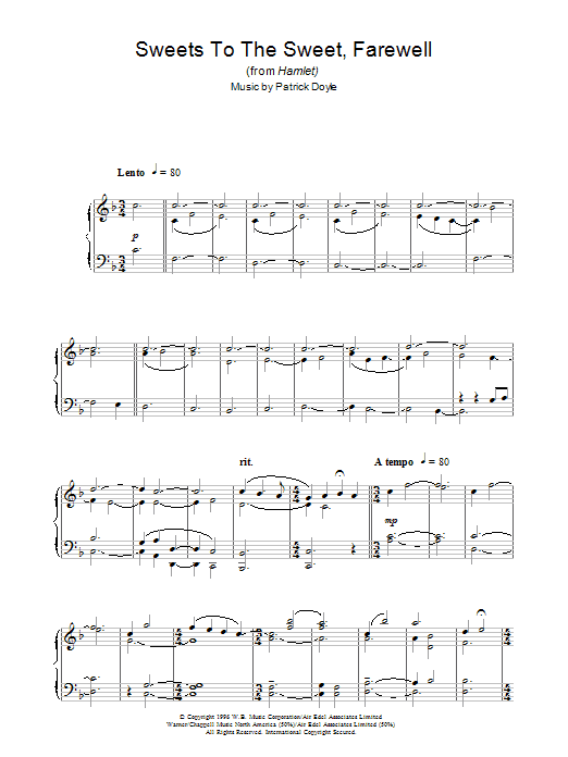 Sweets To The Sweet, Farewell (from Hamlet) Sheet Music