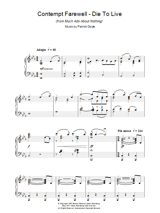 Contempt Farewell - Die To Live (from Much Ado About Nothing) (Piano Solo)