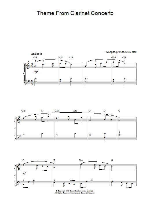 Slow Movement Theme from Clarinet Concerto (Piano, Vocal & Guitar)