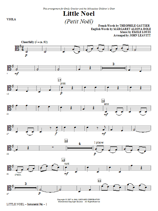 Little Noel (Petit Noel) - Viola Sheet Music