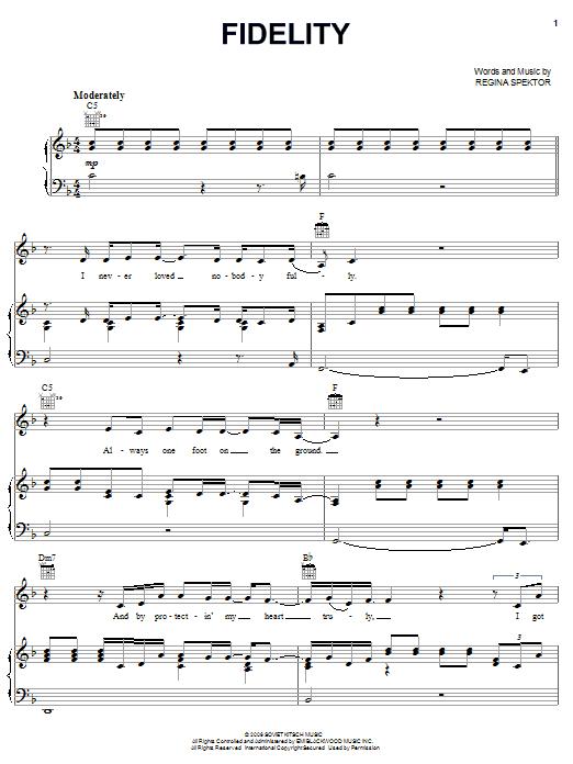 Partition piano Fidelity de Regina Spektor - Piano Voix Guitare (Mélodie Main Droite)