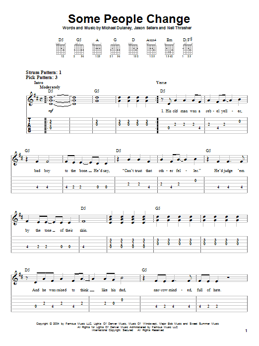 Tablature guitare Some People Change de Kenny Chesney - Tablature guitare facile