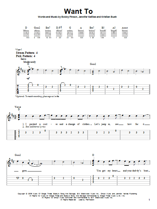 Tablature guitare Want To de Sugarland - Tablature guitare facile