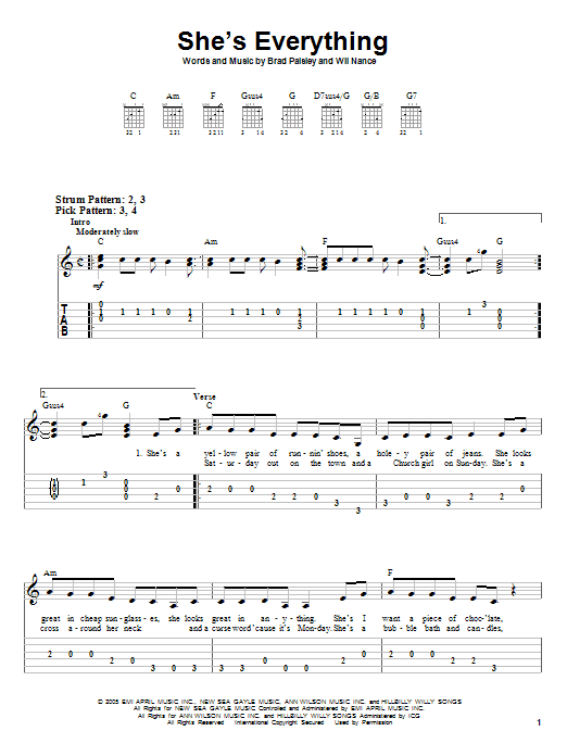 Tablature guitare She's Everything de Brad Paisley - Tablature guitare facile