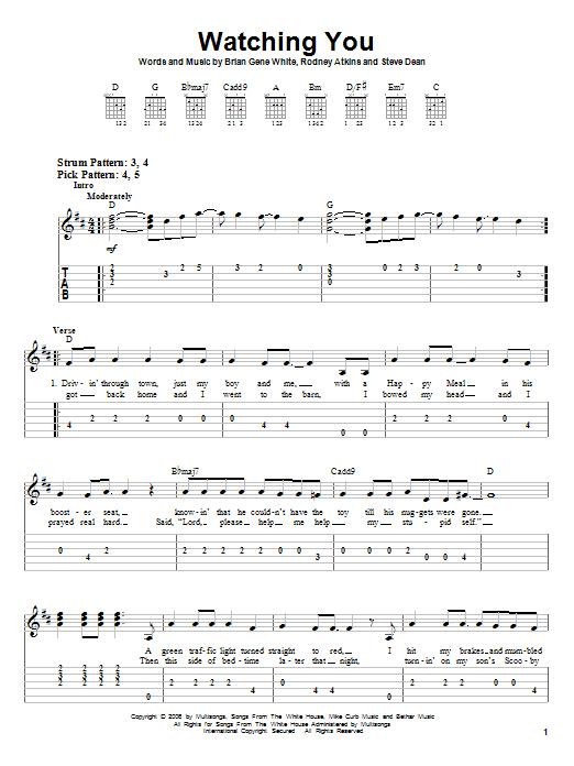 Tablature guitare Watching You de Rodney Atkins - Tablature guitare facile
