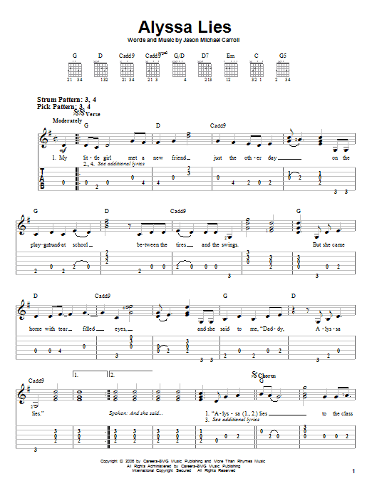 Tablature guitare Alyssa Lies de Jason Michael Carroll - Tablature guitare facile