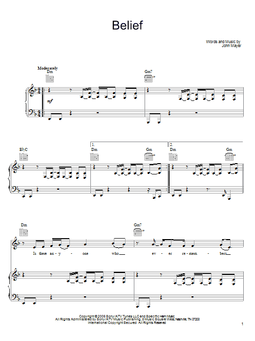 Belief Sheet Music