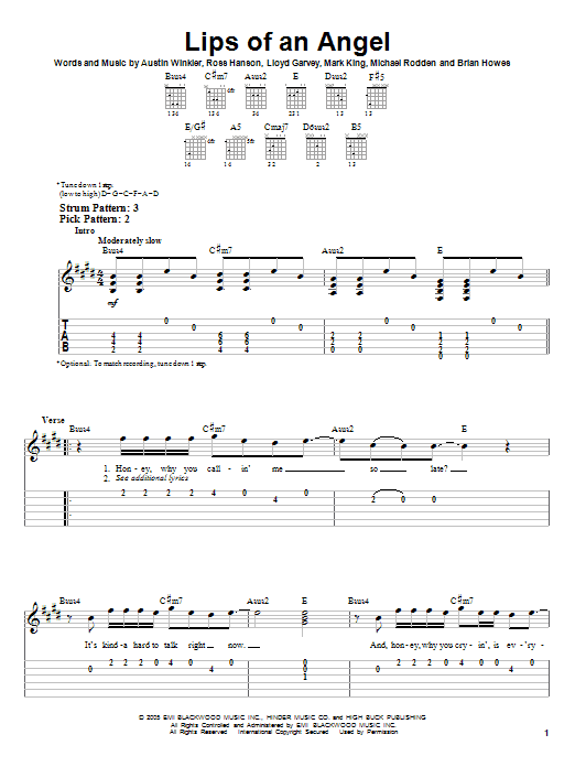 Hinder lips of an angel solo tab