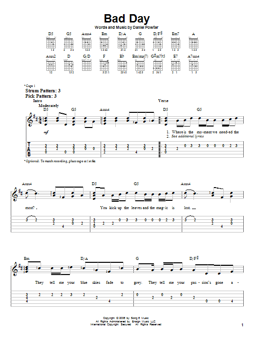 Tablature guitare Bad Day de Daniel Powter - Tablature guitare facile