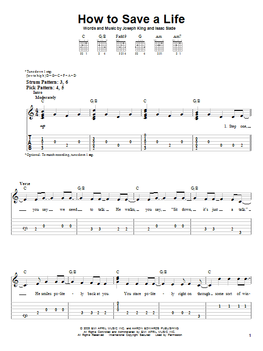 How To Save A Life by The Fray - Easy Guitar Tab - Guitar Instructor
