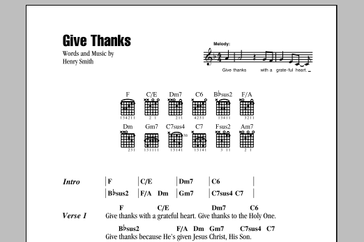 Give Thanks (Guitar Chords/Lyrics)
