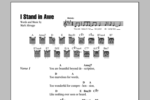 I Stand In Awe By Mark Altrogge Guitar Chordslyrics Guitar