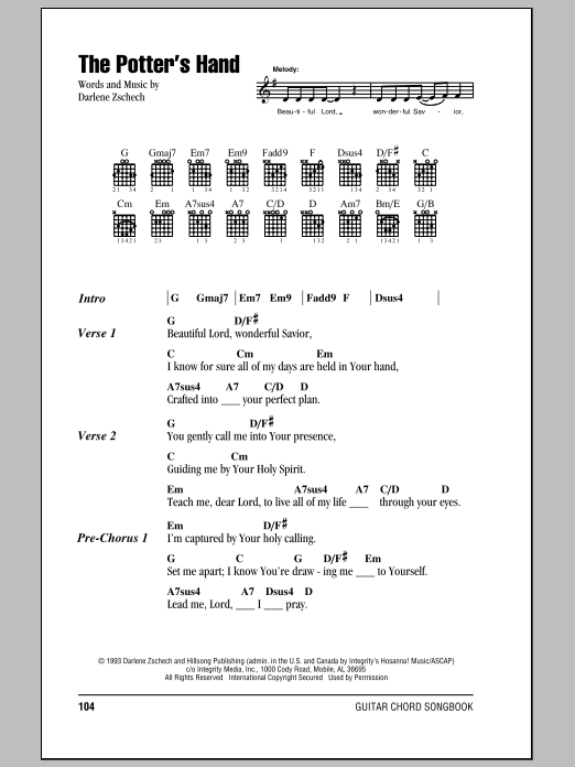 The Potter's Hand (Guitar Chords/Lyrics)