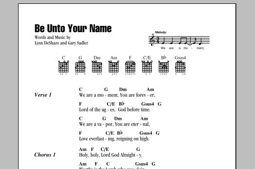 Be Unto Your Name By Robin Mark Guitar Chordslyrics Guitar