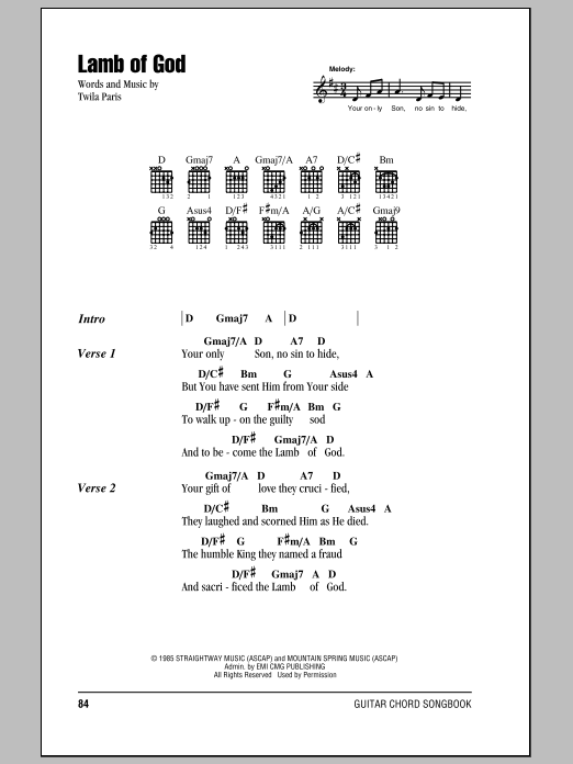 Lamb Of God Sheet Music Direct