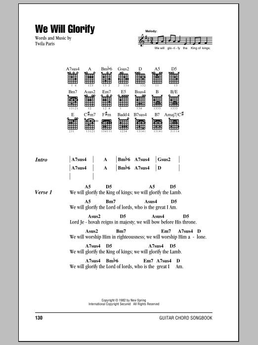 We Will Glorify sheet music by Twila Paris (Lyrics & Chords – 83991)