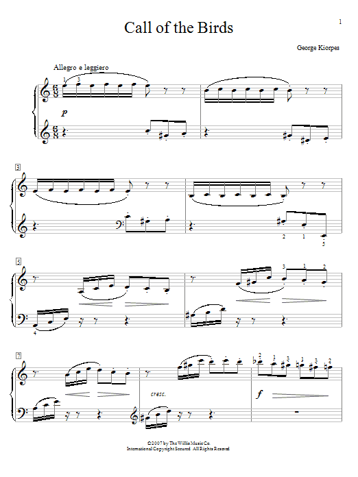 Call Of The Birds Sheet Music