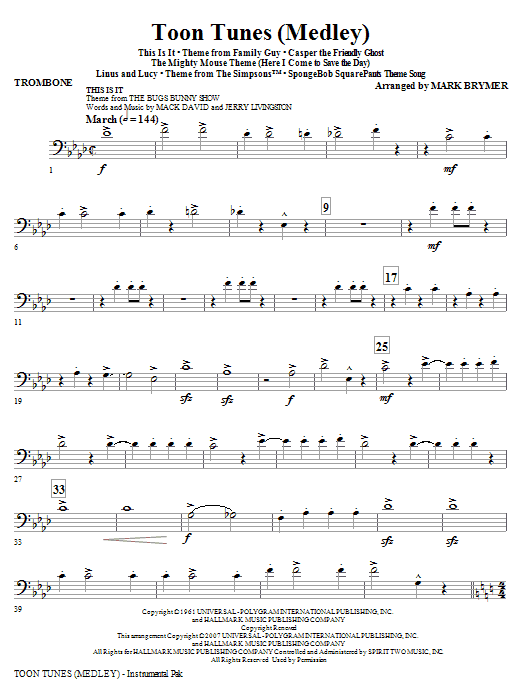 Toon Tunes - Trombone by Mark Brymer Choir Instrumental Pak Digital Sheet  Music