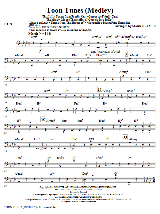 Toon Tunes - Bass Sheet Music