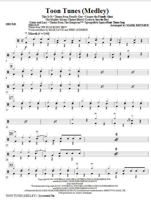 Toon Tunes - Drums (Choir Instrumental Pak)