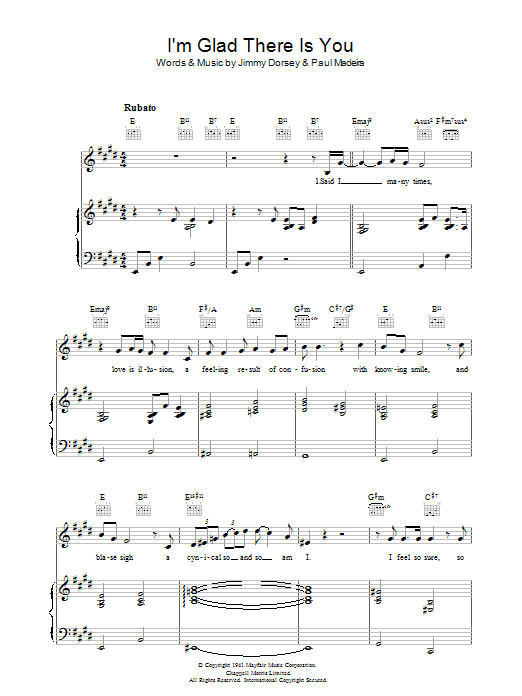 I'm Glad There Is You (In This World Of Ordinary People) Sheet Music