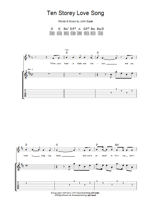 Ten Storey Love Song Sheet Music