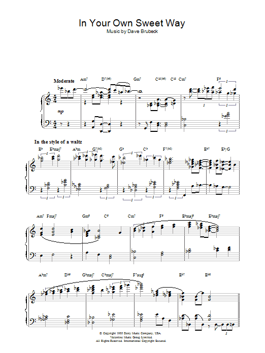 In Your Own Sweet Way (Piano Solo)