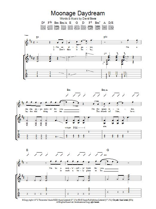 Moonage Daydream (Guitar Tab)