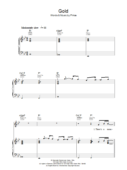 Gold (Piano, Vocal & Guitar)