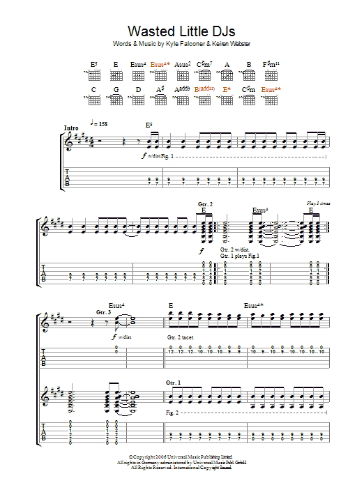 Wasted Little DJs (Guitar Tab)