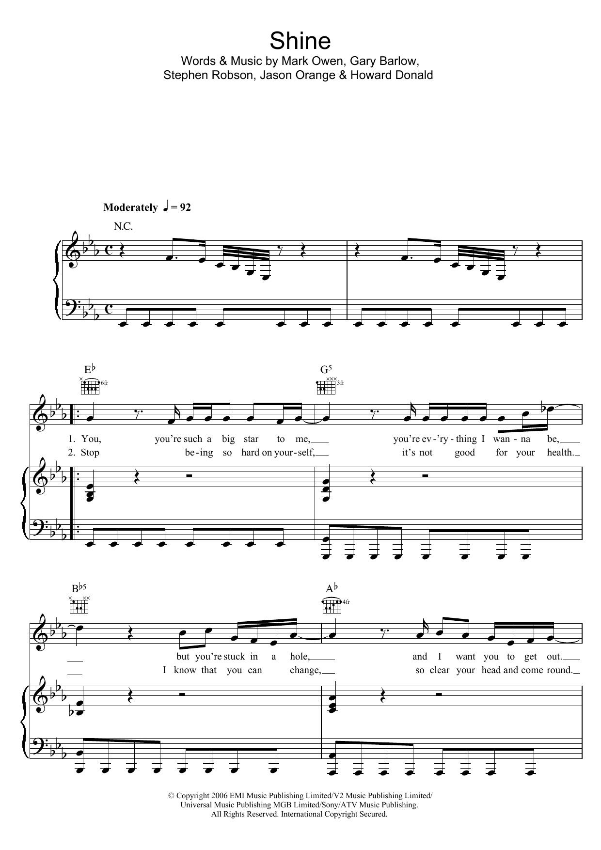 Shine (Piano, Vocal & Guitar)