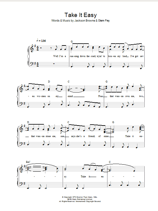 Take It Easy Sheet Music | Eagles | Beginner Piano