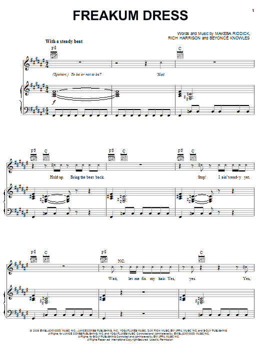 Freakum Dress Sheet Music