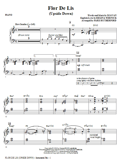 Flor De Lis (Upside Down) (complete set of parts) sheet music for orchestra/band (Rhythm) by Paris Rutherford and Regina Werneck. Score Image Preview.