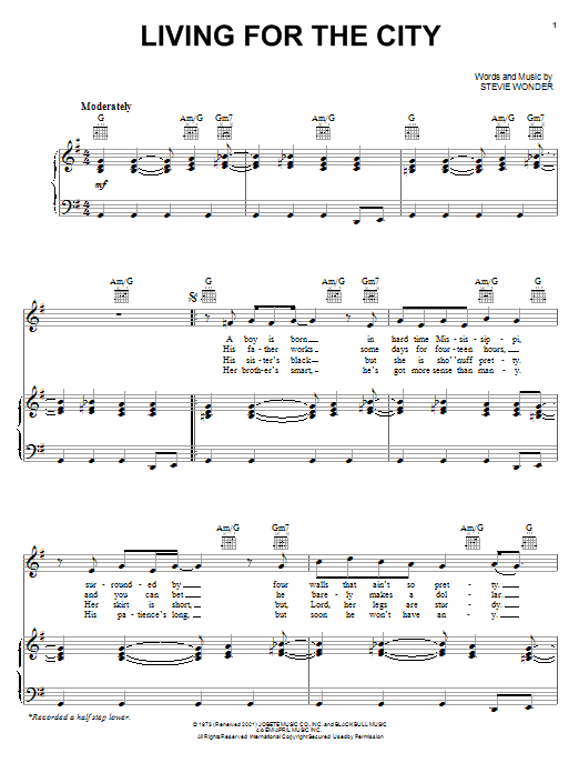 Living For The City Sheet Music Direct