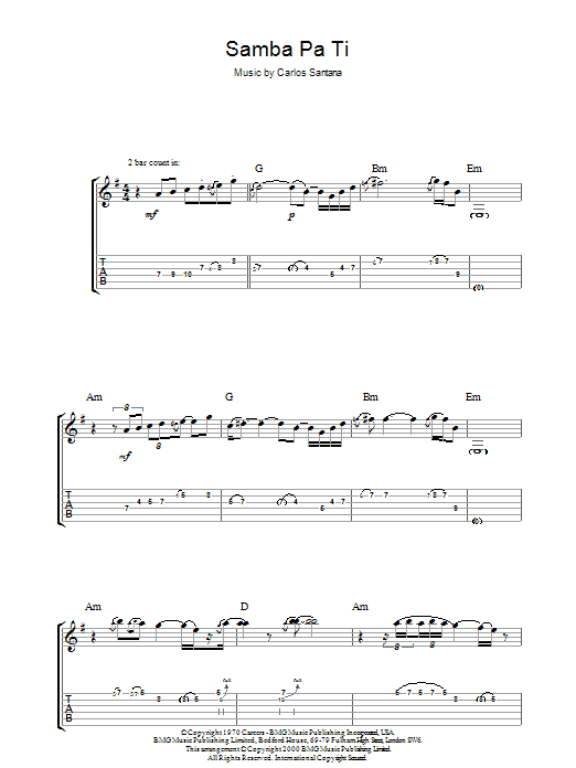 Samba Pa Ti Sheet Music