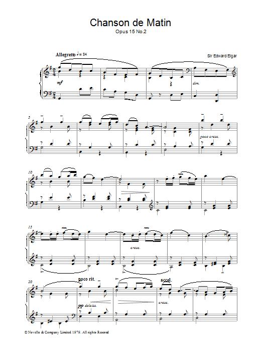 Chanson De Matin Opus 15, No. 2 (Piano Solo)