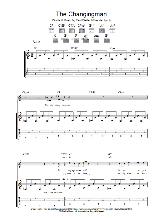 The Changingman Sheet Music